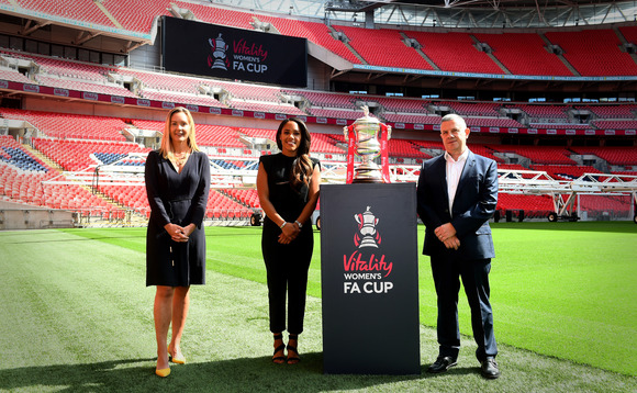 (L-R, Kathryn Swarbrick – The FA's commercial and marketing director, Alex Scott MBE – Vitality's new Ambassador, Neville Koopowitz – Vitality CEO).